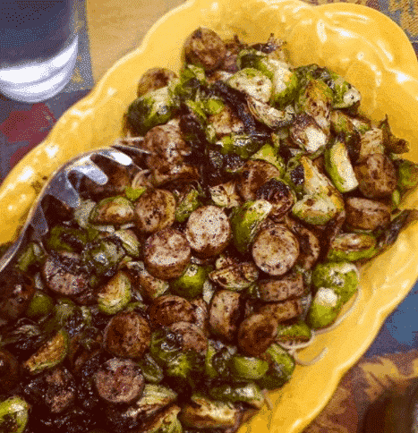 Balsamic Roasted Brussels Sprouts and Chicken Sausage Pasta