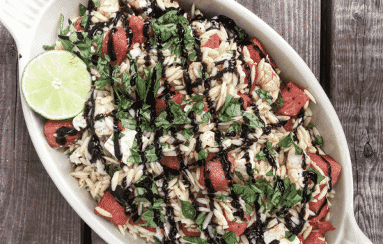 Summertime Watermelon and Shrimp Orzo