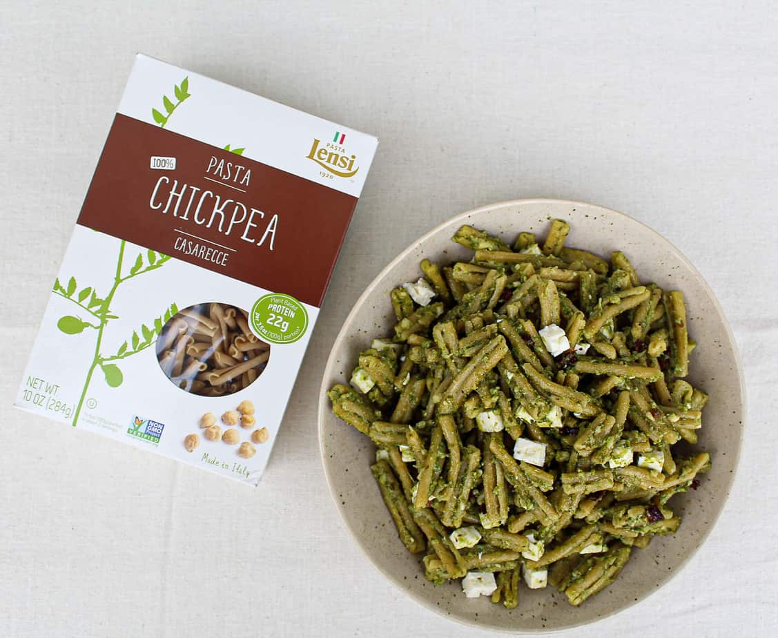 Pesto Chickpea Pasta with Sun-dried Tomatoes and Feta